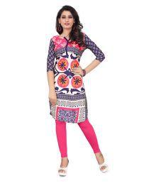 Fast N Fashion Multicoloured Crepe Printed Semi Stitched Kurti - 675407736630