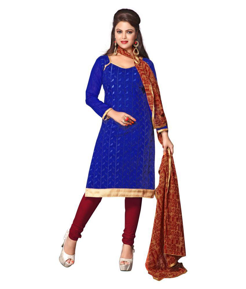 Kalish Royal Blue Cotton Dress Material