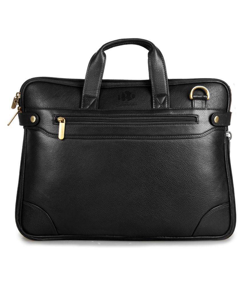 The Clownfish 14 inch Leather Laptop and Tablet Bag - Macbook Pro, Macbook Air Laptop Bag (Black)