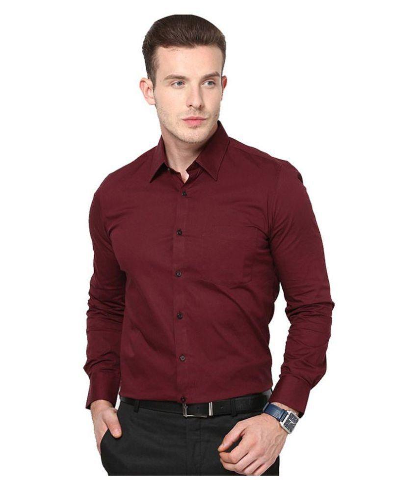 Unique for men maroon formal slim fit shirt buy unique for Mens t shirt online