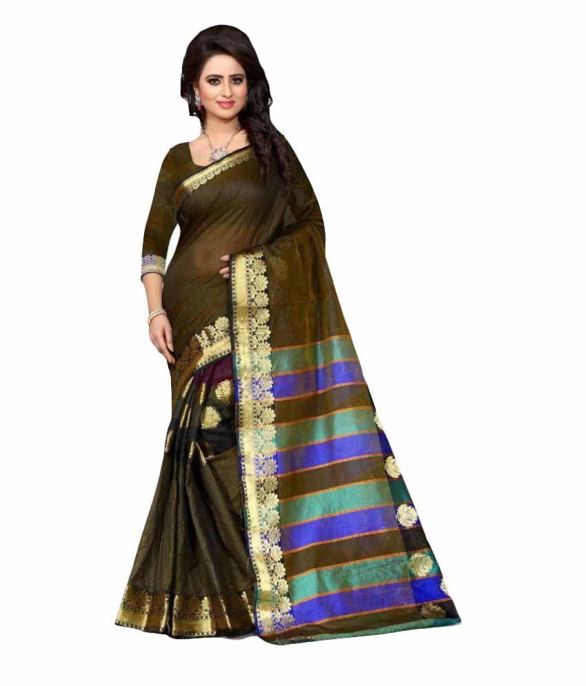 Edeal Online Green Banarasi Silk Saree