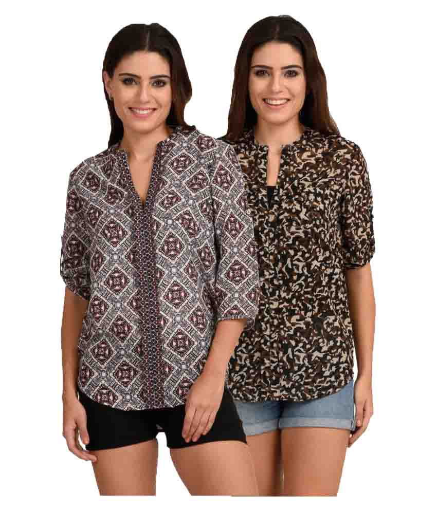 The Gud Look Multi Color Polyester Shirt