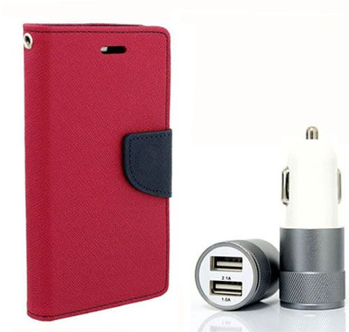 Wallet Flip Case Back Cover For Micromax A104 - (Pink) + Dual ports USB car Charger by Style Crome Store.