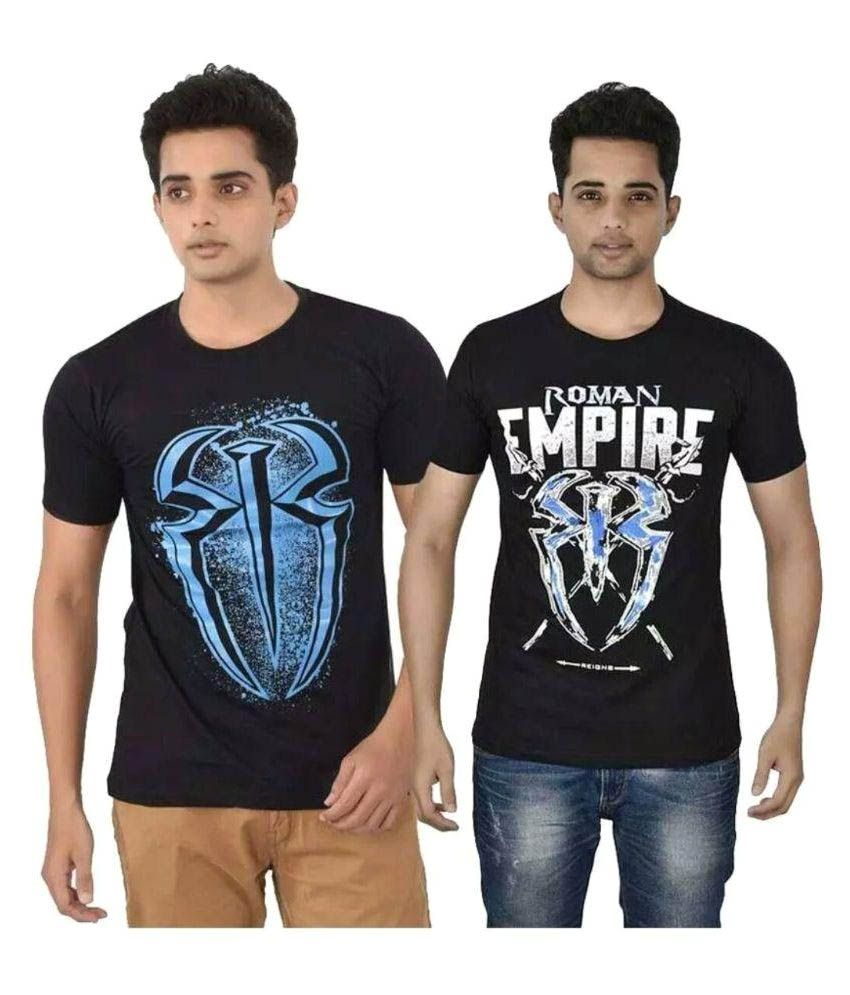 WWE Black Round T-Shirt Pack of 2