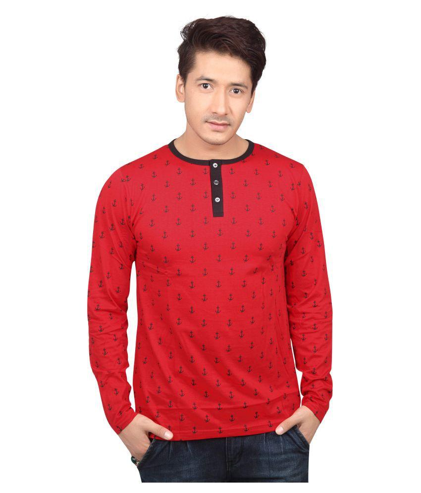 Free Spirit Red Henley T-Shirt