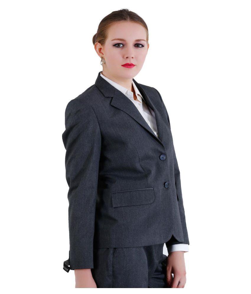 La Mode Grey Solid Formal Tuxedo