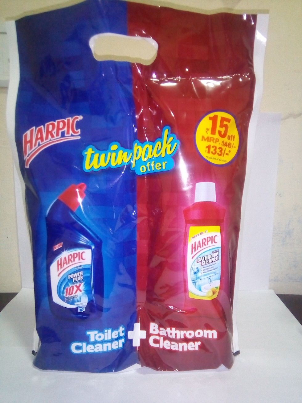 Harpic Toilet Cleaner Power Orange 1 Litre + Bathroom cleaner (lemon) 200ml
