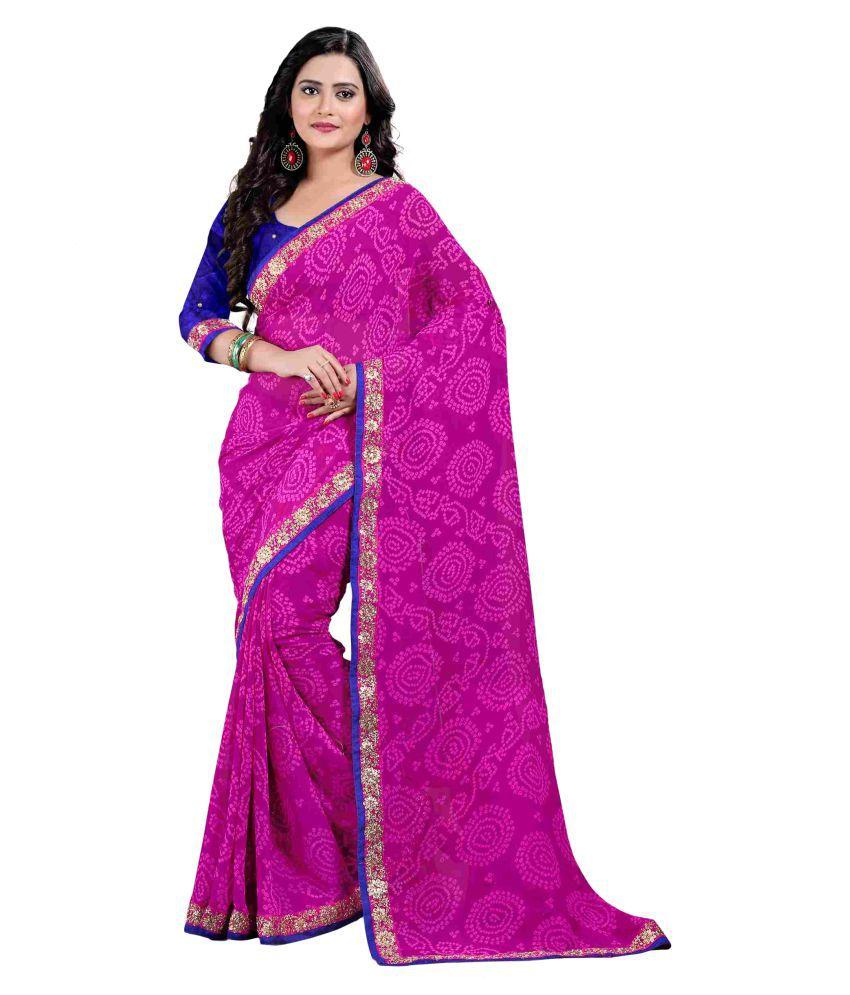 Oomph! Pink and Purple Chiffon Saree
