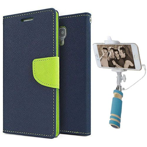 Wallet Flip Case Back Cover For Motorola Moto X2-(Blue)+Mini Selfie Stick Compatible for all MobilesBy Style Crome Store