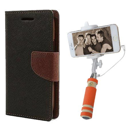 Wallet Flip Case Back Cover For Samsung Note 3 new-(Blackbrown)+Mini Selfie Stick Compatible for all MobilesBy Style Crome Store