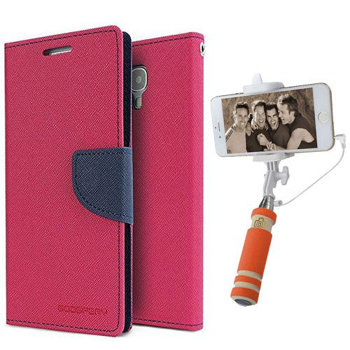 Wallet Flip Case Back Cover For HTC516-(Pink)+Mini Selfie Stick Compatible for all MobilesBy Style Crome Store