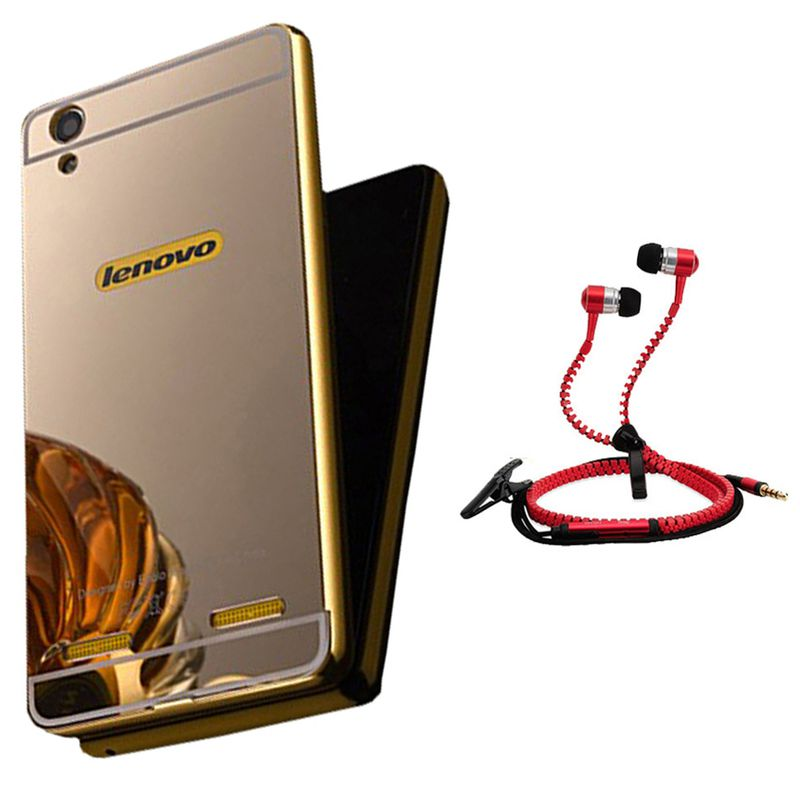 Mirror Back Cover For Lenovo A6000 + Zipper earphone free by Style Crome.