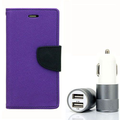 Wallet Flip Case Back Cover For Apple I phone 4 - (Purple) + Dual ports USB car Charger by Style Crome Store.