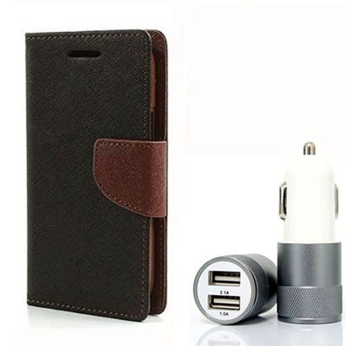 Wallet Flip Case Back Cover For Samsung G350 - (Blackbrown) + Dual ports USB car Charger by Style Crome Store.