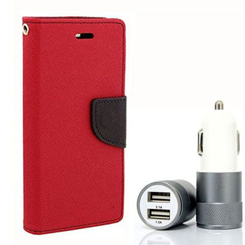 Wallet Flip Case Back Cover For Micromax A116 - (Red) + Dual ports USB car Charger by Style Crome Store.