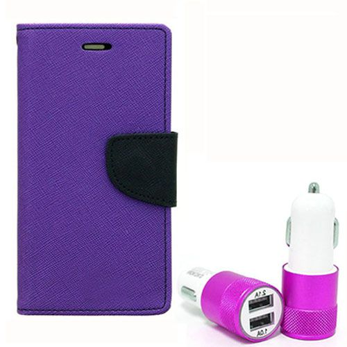 Wallet Flip Case Back Cover For Samsung E7 - (Purple) + Dual ports USB car Charger by Style Crome Store.