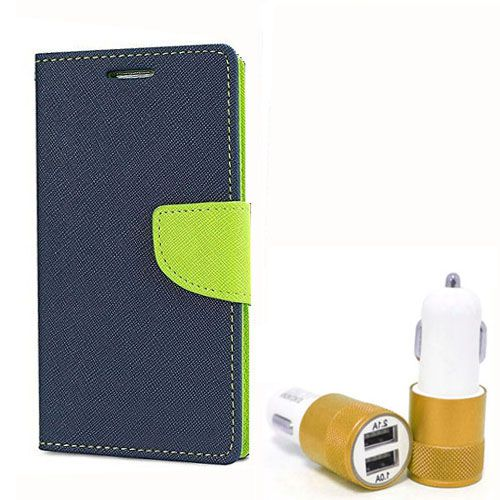 Wallet Flip Case Back Cover For Micromax E313 - (Blue) + Dual ports USB car Charger by Style Crome Store.