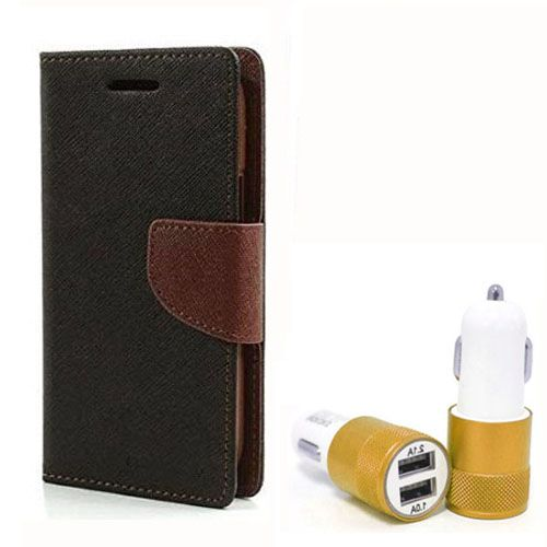 Wallet Flip Case Back Cover For Micromax Yureka - (Blackbrown) + Dual ports USB car Charger by Style Crome Store.