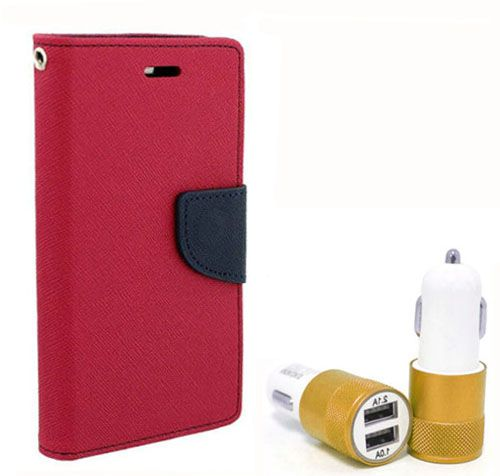Wallet Flip Case Back Cover For Micromax Q345 - (Pink) + Dual ports USB car Charger by Style Crome Store.