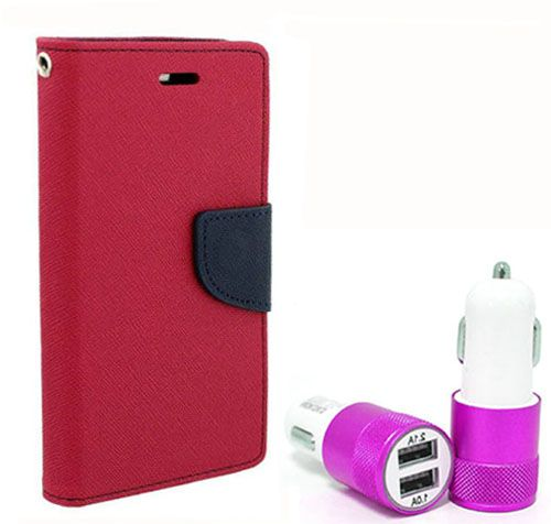 Wallet Flip Case Back Cover For Sony Xpria C4 - (Pink) + Dual ports USB car Charger by Style Crome Store.