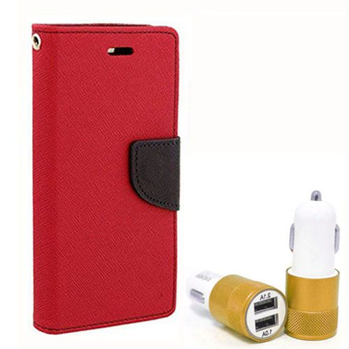 Wallet Flip Case Back Cover For Micromax Q345 - (Red) + Dual ports USB car Charger by Style Crome Store.