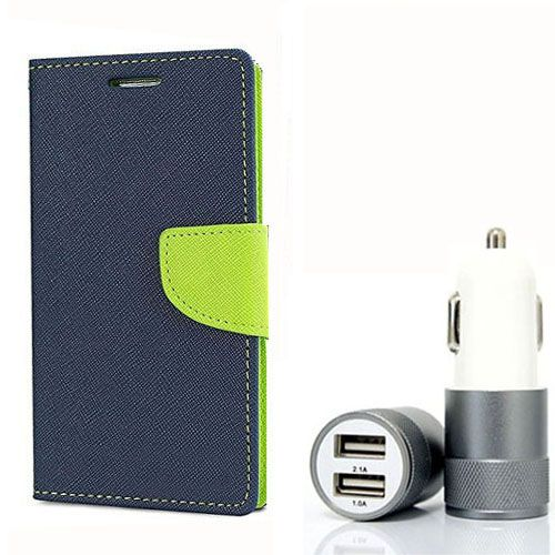 Wallet Flip Case Back Cover For Micromax A117 - (Blue) + Dual ports USB car Charger by Style Crome Store.