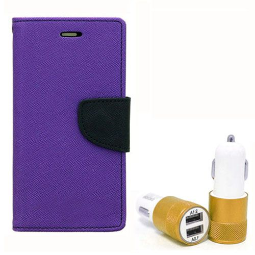 Wallet Flip Case Back Cover For Samsung J1 - (Purple) + Dual ports USB car Charger by Style Crome Store.