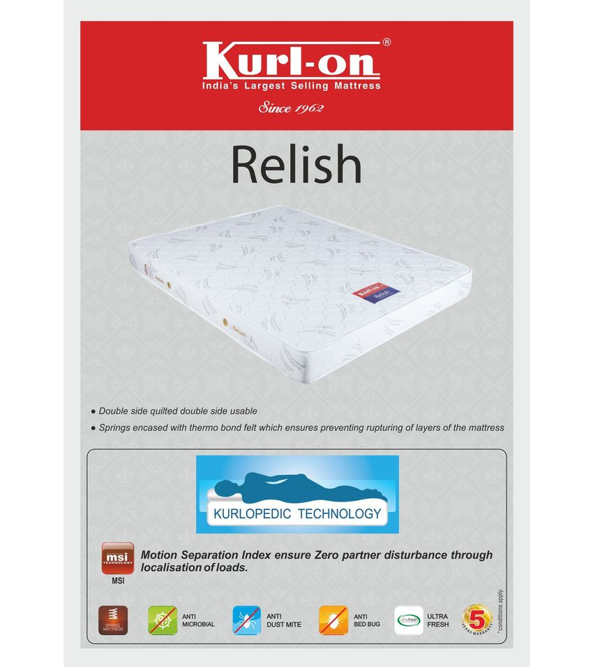 kurl on relish 6 inch king size spring mattress 72x72x6 buy kurl