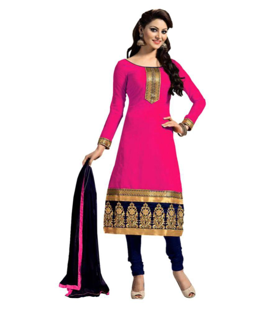 9 O'Clock Pink Chanderi A-line UnStitched Suit