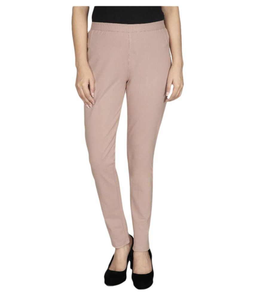 Gugg Beige Lycra Jeggings