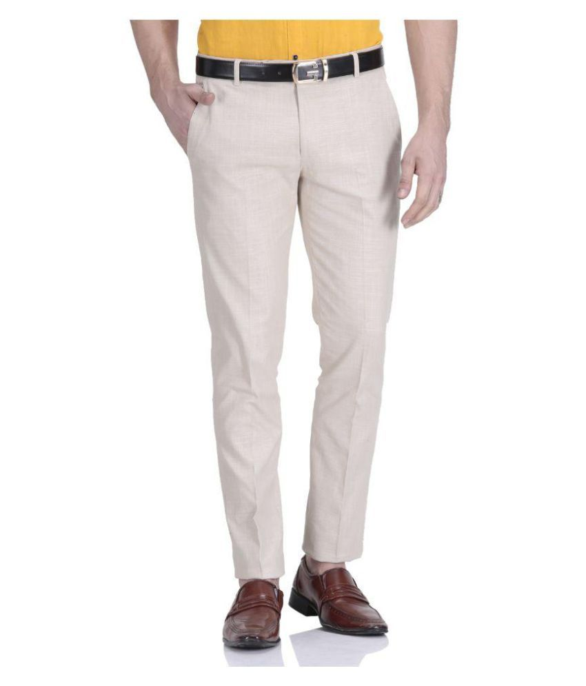 Vandnam Fabrics Beige Regular Flat Trouser