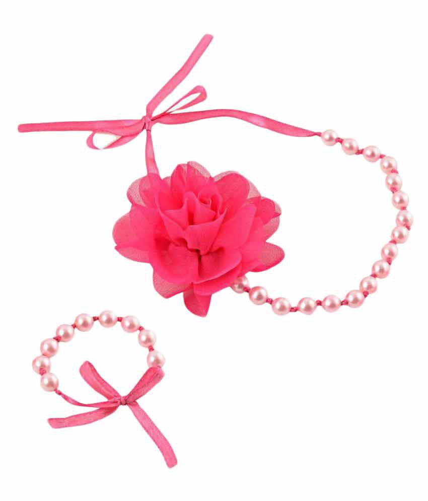 CrayonFlakes Pink Necklace & Bracelet for Kids