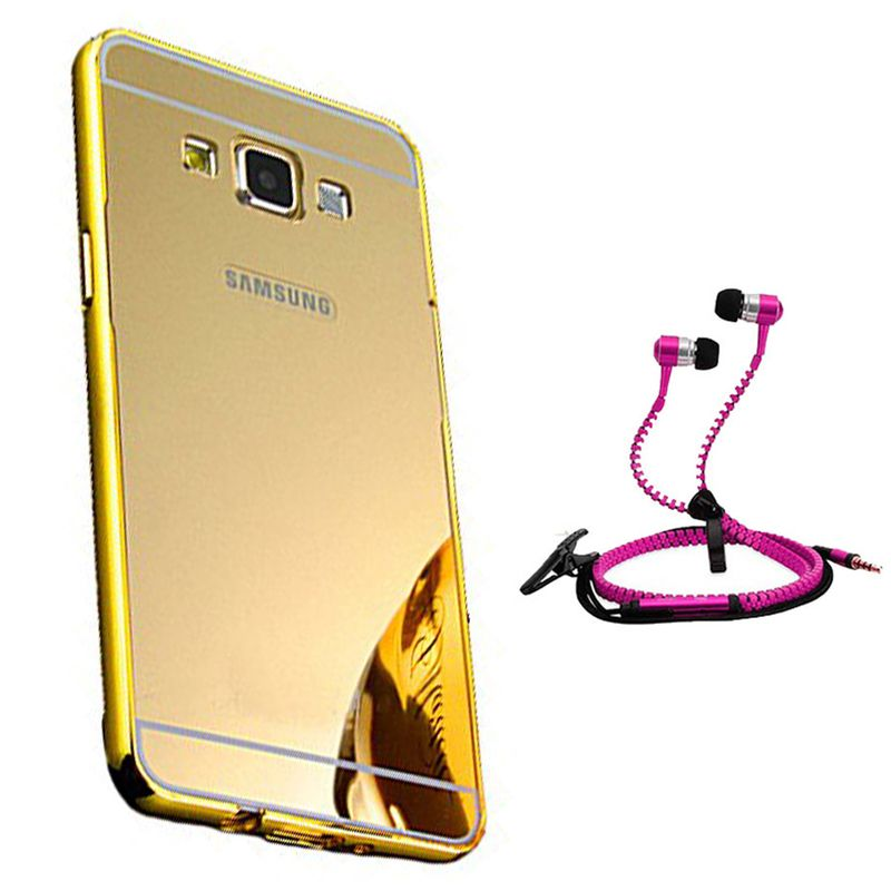 Mirror Back Cover For Samsung Galaxy On7 + Zipper earphone free by Style Crome.