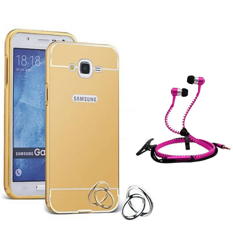 Mirror Back Cover For Samsung Galaxy J5 + Zipper earphone free by Style Crome.