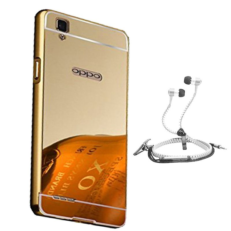 Mirror Back Cover For Oppo F1 + Zipper earphone free by Style Crome.