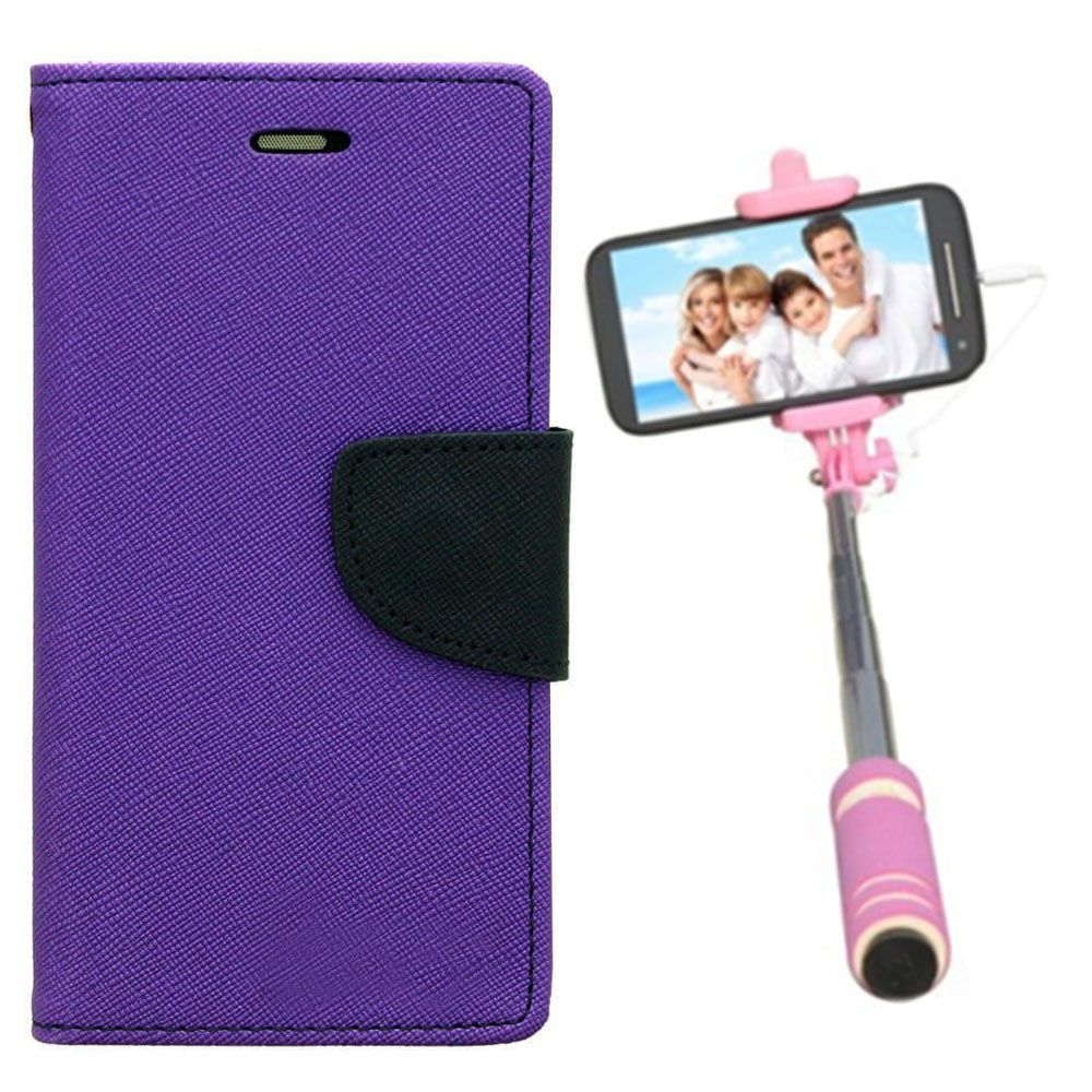 Wallet Flip Case Back Cover For Redmi 1s-(Purple)+Mini Selfie Stick Compatible for all MobilesBy Style Crome Store