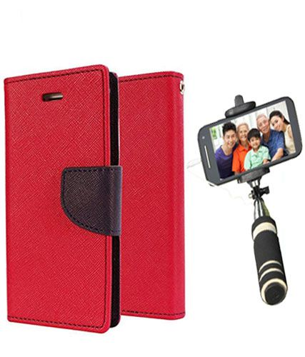 Wallet Flip Case Back Cover For Redmi 2S/Prime -(Red)+Mini Selfie Stick Compatible for all MobilesBy Style Crome Store