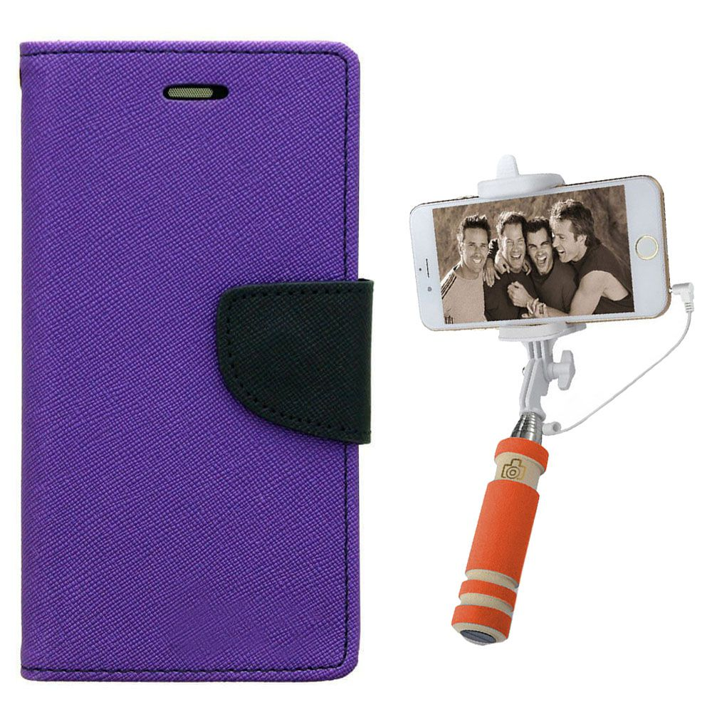 Wallet Flip Case Back Cover For Samsung J2-(Purple)+Mini Selfie Stick Compatible for all MobilesBy Style Crome Store