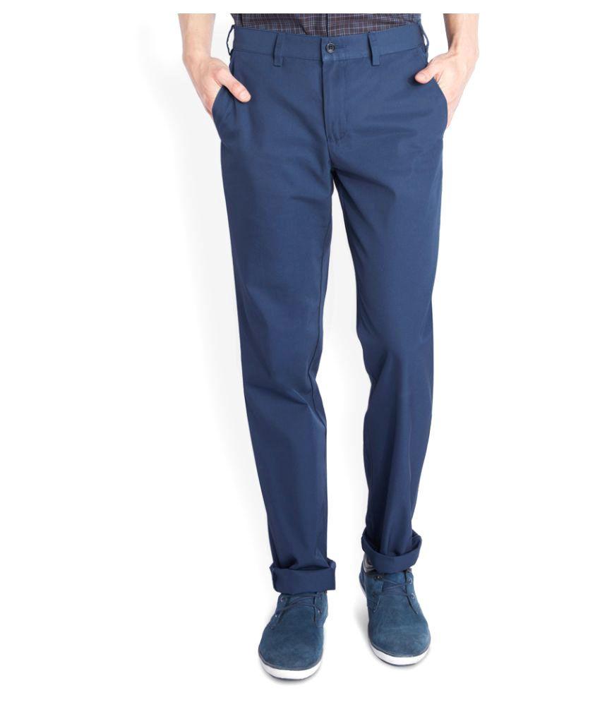 Colorplus Blue Regular Flat Trouser