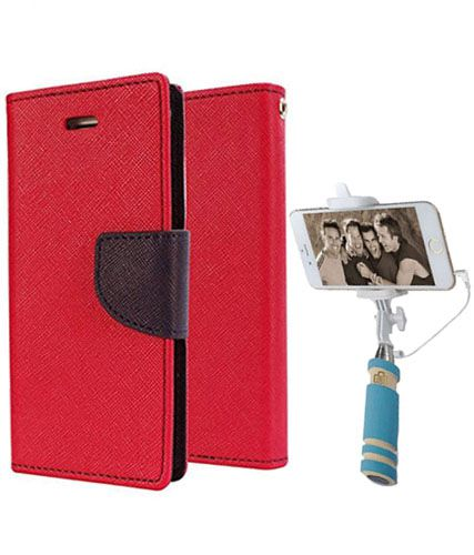 Wallet Flip Case Back Cover For Sony Expria Z3 -(Red)+Mini Selfie Stick Compatible for all MobilesBy Style Crome Store