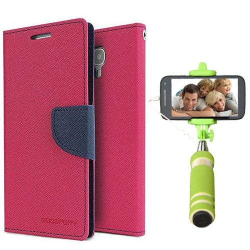 Wallet Flip Case Back Cover For Sony Expria C5-(Pink)+Mini Selfie Stick Compatible for all MobilesBy Style Crome Store