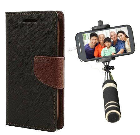 Wallet Flip Case Back Cover For Samsung Z1-(Blackbrown)+Mini Selfie Stick Compatible for all MobilesBy Style Crome Store
