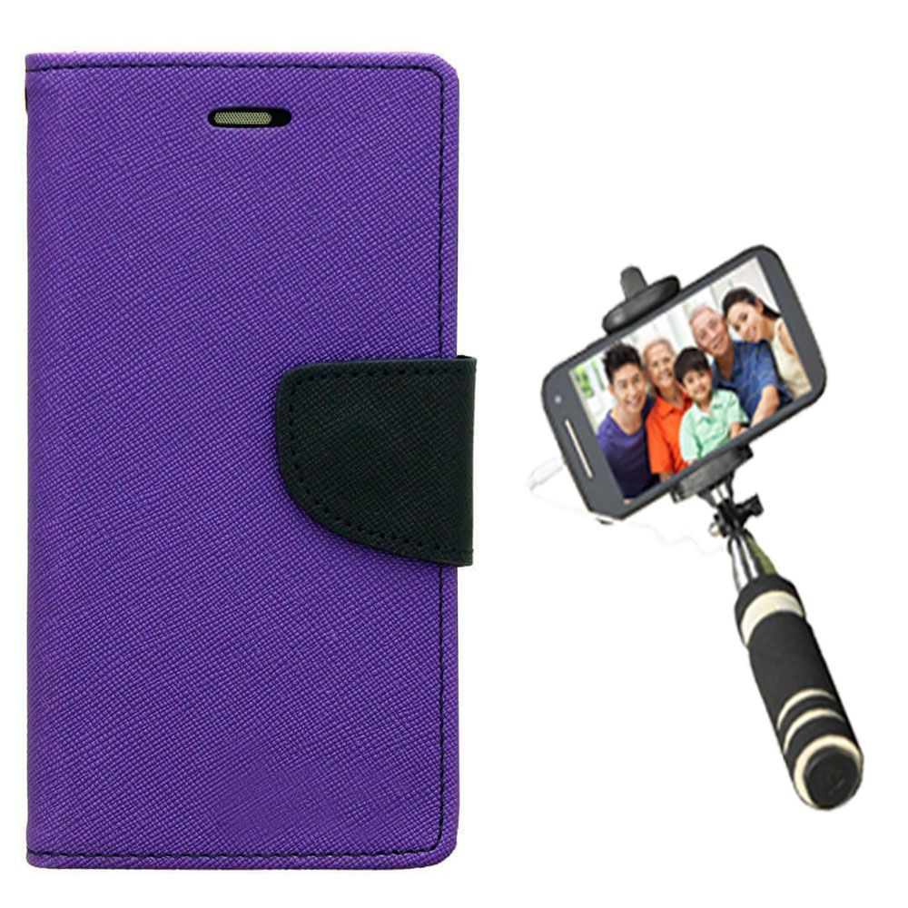 Wallet Flip Case Back Cover For Sony Expria Z ultra-(Purple)+Mini Selfie Stick Compatible for all MobilesBy Style Crome Store