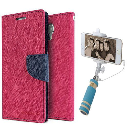 Wallet Flip Case Back Cover For One Plus One-(Pink)+Mini Selfie Stick Compatible for all MobilesBy Style Crome Store