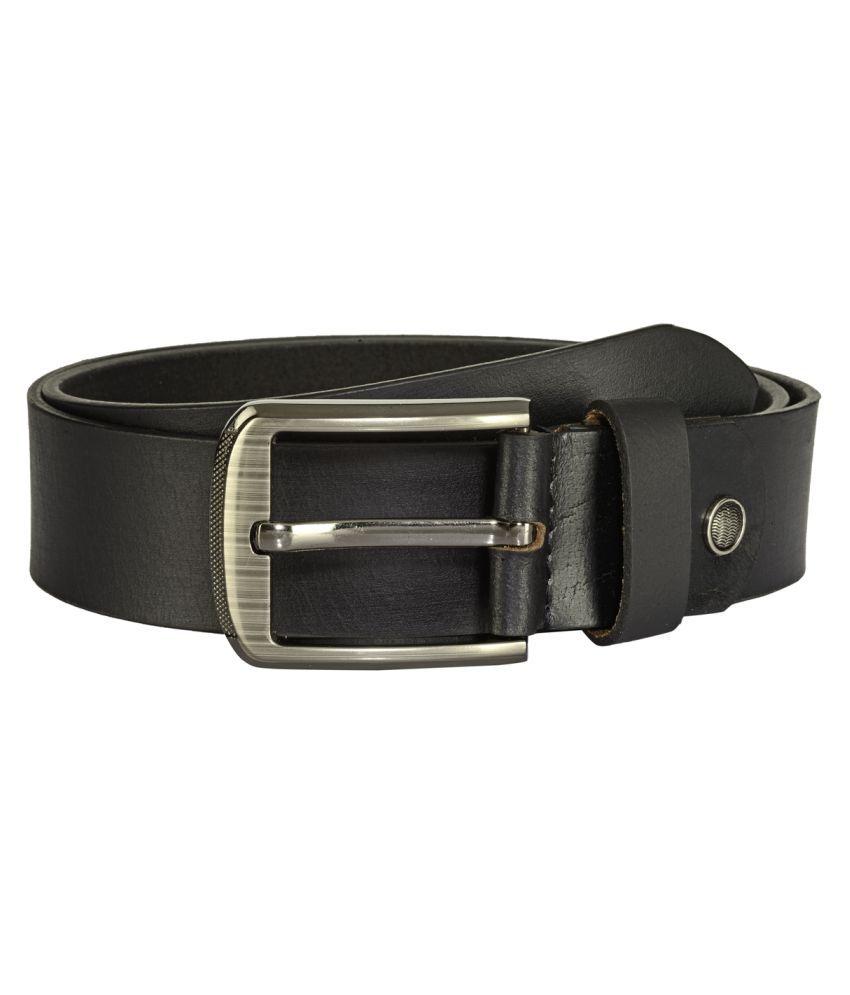 Teakwood Black Leather Casual Belts