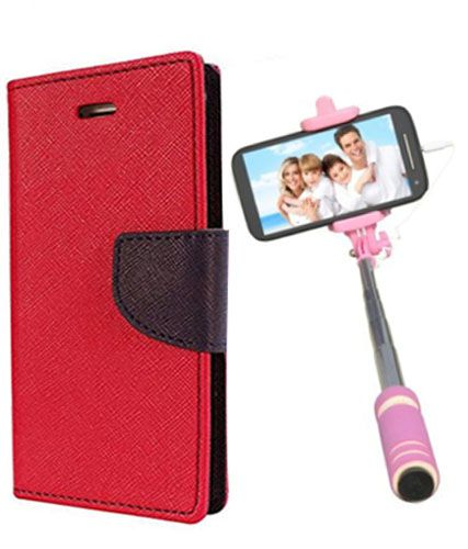 Wallet Flip Case Back Cover For LG g3 -(Red)+Mini Selfie Stick Compatible for all MobilesBy Style Crome Store