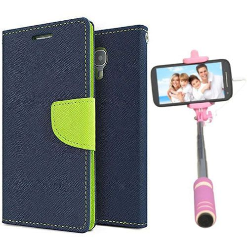 Wallet Flip Case Back Cover For Nokia 640-(Blue)+Mini Selfie Stick Compatible for all MobilesBy Style Crome Store