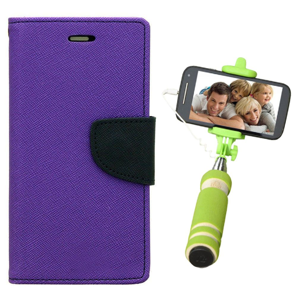 Wallet Flip Case Back Cover For Motorola Moto X2-(Purple)+Mini Selfie Stick Compatible for all MobilesBy Style Crome Store