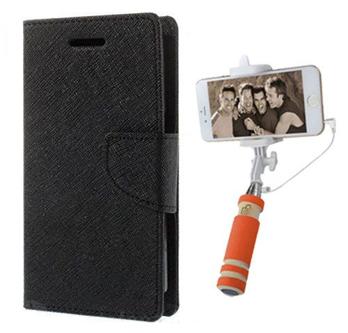 Wallet Flip Case Back Cover For HTC516 -(Black)+Mini Selfie Stick Compatible for all MobilesBy Style Crome Store