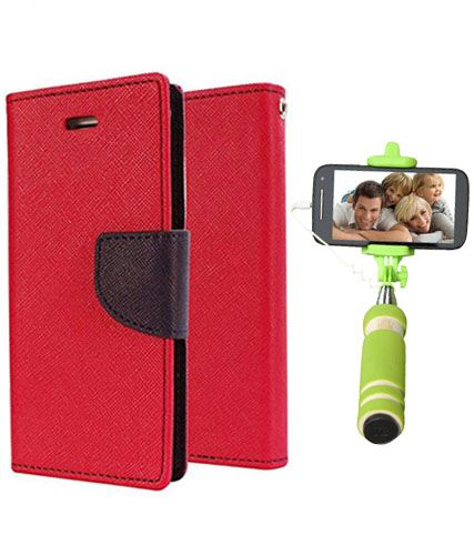 Wallet Flip Case Back Cover For Samsung J1 -(Red)+Mini Selfie Stick Compatible for all MobilesBy Style Crome Store